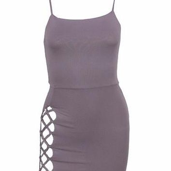 Lace Up Bodycon Choker Mini Dress