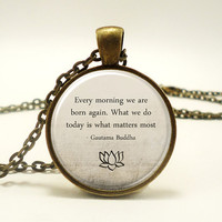 Buddha Quote Necklace, Motivational Wisdom Pendant, Inspirational Yoga Jewelry (1573B1IN)
