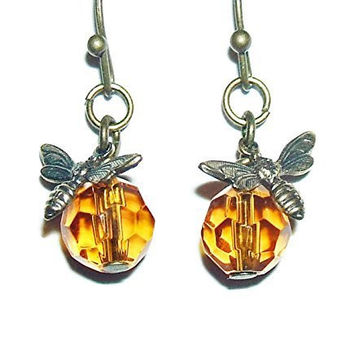 BEE EARRINGS Honey Amber Crystal GLASS Drop Dangles SAVE THE BEES