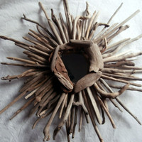 Driftwood Sunbust Wreath Mirror Rustic Decor Beach Wedding Driftwood Art