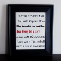 Peter Pan Nursery Art. Peter Pan Poster. Nursery Decor. Two Sizes Available.