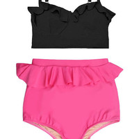 Black Midkini Top and Pink Peplum Fringe Highwaisted High Waisted Waist High-waist Swimsuit Swimwear Bikini Bathing suit Swim wear wears S M