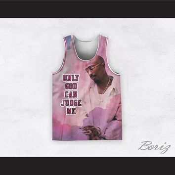 Tupac Shakur 12 Only God Can Judge Me Pink Heaven Basketball Jersey