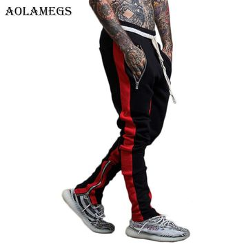 Aolamegs Pants Men Retro Side Striped Zipper Pants Track Pants Trousers Mens Elastic Waist Casual Fashion Joggers Sweatpants