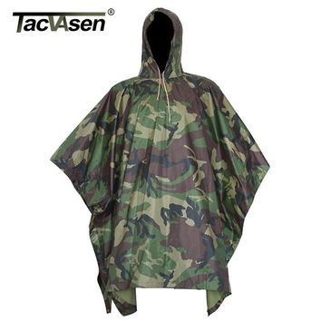 TACVASEN Army Camouflage Raincoat Jungle Multi Functional Poncho Hunt Camp Poncho Mats Scratch-resistant Coat XMLG-002