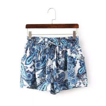 DK275 New Fashion Ladies' Paisley pattern print chiffon shorts vintage blue elastic waist shorts causal loose brand shorts