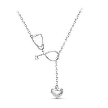 Nurses Stethoscope Necklace With Heart