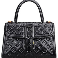 PIJUSHI Classic Embossed Floral Genuine Leather Top Handle Cross Body Handbags