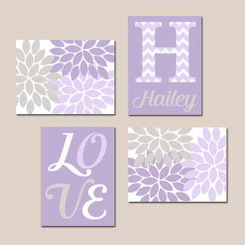LILAC LAVENDER Nursery Baby GIRL Wall Art Canvas or Prints Love Flower Burst Girl Bedroom Artwork Girl Monogram Name Set of 4 Crib Decor