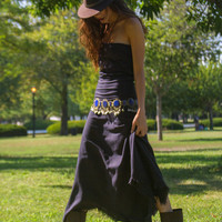 Hand Dyed In Black Boho Chic Strapless Dress