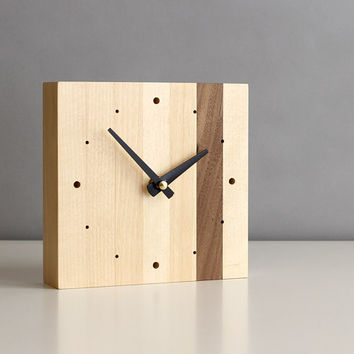 "Minimalistic 5.5"" square desk clock walnut and birch wood with tapered matte black hands and dots"