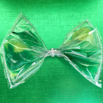 Green Feather hair bow, Green feather see-thru bow,  Green hair bow, giant hair bow, giant Green hair bow