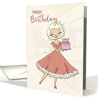 Lovely Lady in Kitchen with a Pink Birthday Cake for Birthday card