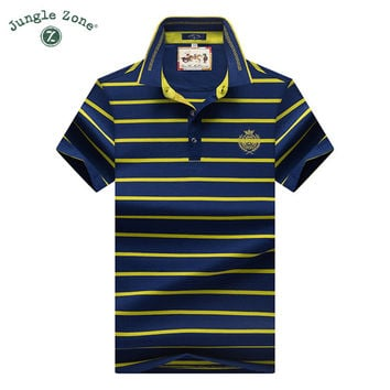 men 's Knit striped lapel Polo shirt short Polo shirts Business men 's clothing