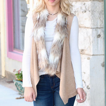 Fur Collar Sweater Vest {Lt. Camel}