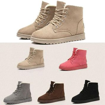Womens Winter Warm Snow Fur Lined Lace Up Flat High Ankle Boots Round Toe Shoes = 1932