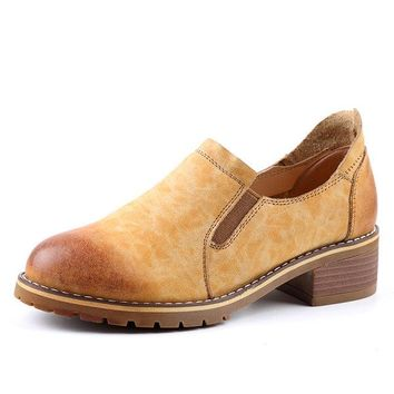Leather Vintage Square Heel Slip On Loafers Casual Shoes For Women