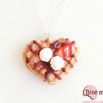 Waffle with Strawberries and Whipped Cream Necklace, Miniature Desserts, Miniature Food, Polymer Clay Sweets, Kawaii Jewelry,Foodie Gift