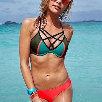 Strappy Color Block Bikini Set