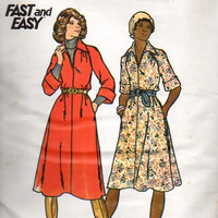 Butterick 4376 Sewing Pattern 70s Shirt Dress Casual Full Skirt Raglan Sleeves A-line Disco Fashion Uncut FF Bust 38