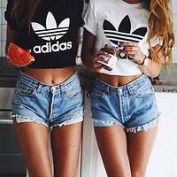 """Adidas"" Fashion Short Shirt Crop Top Tee"