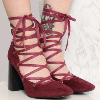 SPELLCRAFT LACE-UP HEEL - BURGUNDY