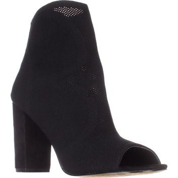 Steve Madden Acko Peep-Toe Ankle Booties, Black, 7.5 US