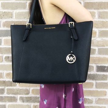 Michael Kors Ciara Large East West Top Zip Tote Black Saffiano