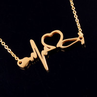 Medical Stethoscope Stainless Steel Heartbeat Necklace Jewelry I Love You Heart Necklaces for Women Nurse/Doctor Collier Femme