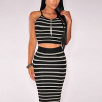 Striped Sleeveless Cut-Out High Waisted Midi Dress
