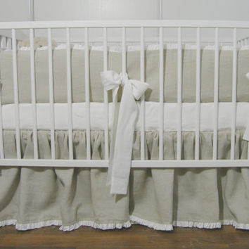 Linen Crib nursery bedding - gathered skirt and 4 side bumper