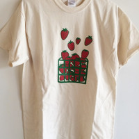 Screen Printed Strawberry T Shirt, Fruit Print, S M L XL 2XL, in Natural