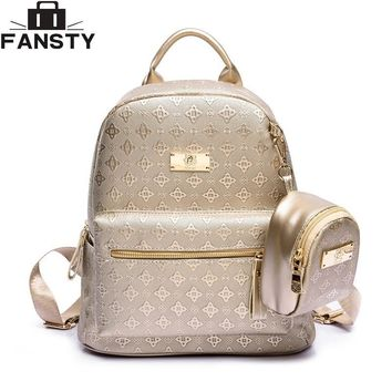Summer New luxury 2016 Women Backpack with Purse Bag Female PU Leather Embossing High Quality School Bag for Teenages Travel bag