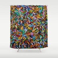 A Rainbow of Bugle Beads Shower Curtain by Vicki Field