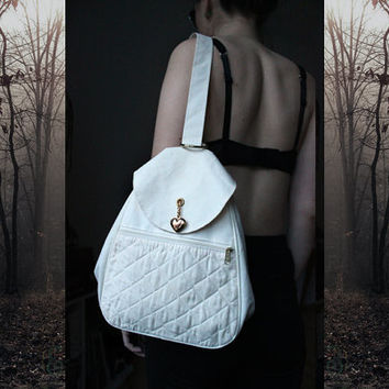 Waxed Canvas Backpack - 90s Deadstock Vintage Shoulder Bag Grunge Hipster Boho White Cotton Gold Heart Mini Rucksack