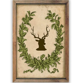 Wooden sign with Christmas wreath and deer framed in wood.  Vintage style.  Handmade.  Approx. 19.5x14x2 inches