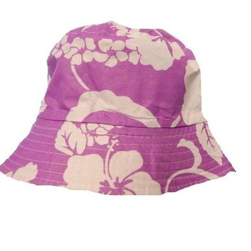 Mens Women Floral Big Flower White Purple Bucket Hat Cotton Fishing Camping cap