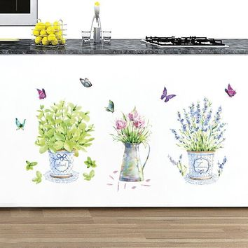 Adeeing DIY  Waterproof PVC Wall Stickers Home Decor Flower Pots Butterfly Kitchen Glass Living Room Stickers