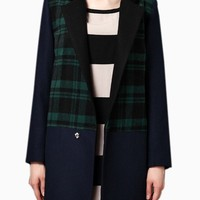 Longline Green Check Wool Coat with Contrast Panel - Choies.com