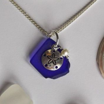 Blue Sea Glass and Sand Dollar Necklace