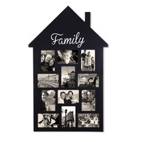 "Black Wood Wall Hanging Picture Photo Frame ""Family"" House-Shape 12 Openings 4x6"" [PF0548]"