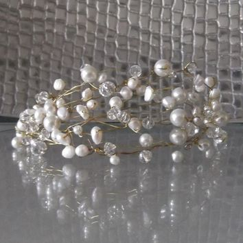 Freshwater Pearl & Crystal Tiara, available in white or ivory, gold or silver wire