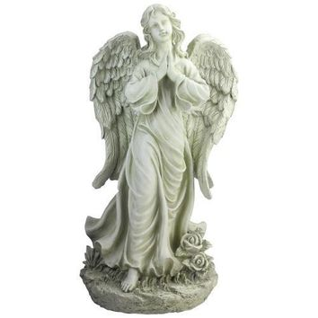 "24.5"" Light Olive Green Praying Angel Decorative Outdoor Garden Statue"