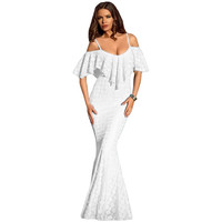 Off Shoulder White Mermaid Dress LAVELIQ