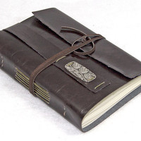 Dark Brown Faux Leather Journal with Bookmark