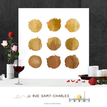 Printable Art Gold Circles Watercolor art print Modern Wall Art Minimalist Art Print Instant download art watercolor art prints digital art