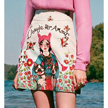 GUCCI Hot Sale Popular Women Casual Girl With Dogs Cartoon Print A -Line Skirt