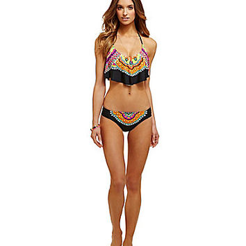 Trina Turk Nuevo Sol Flutter Top & Side-Shirred Hipster Bottom | Dillards.com