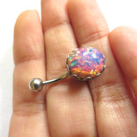 Pink Opal Belly Button Jewelry Stud Ring- Navel Piercing Bar Barbell Silver Tone