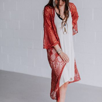 Nema Emroidered and Lace Kimono - Rust